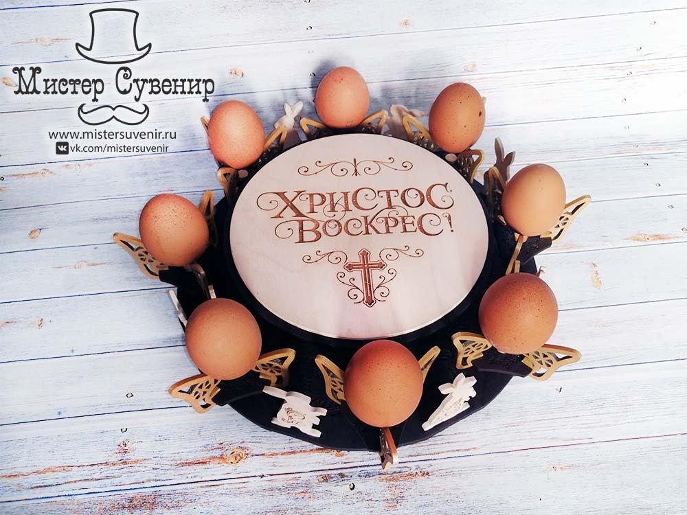 Пасхальная подставка из фанеры с яйцами