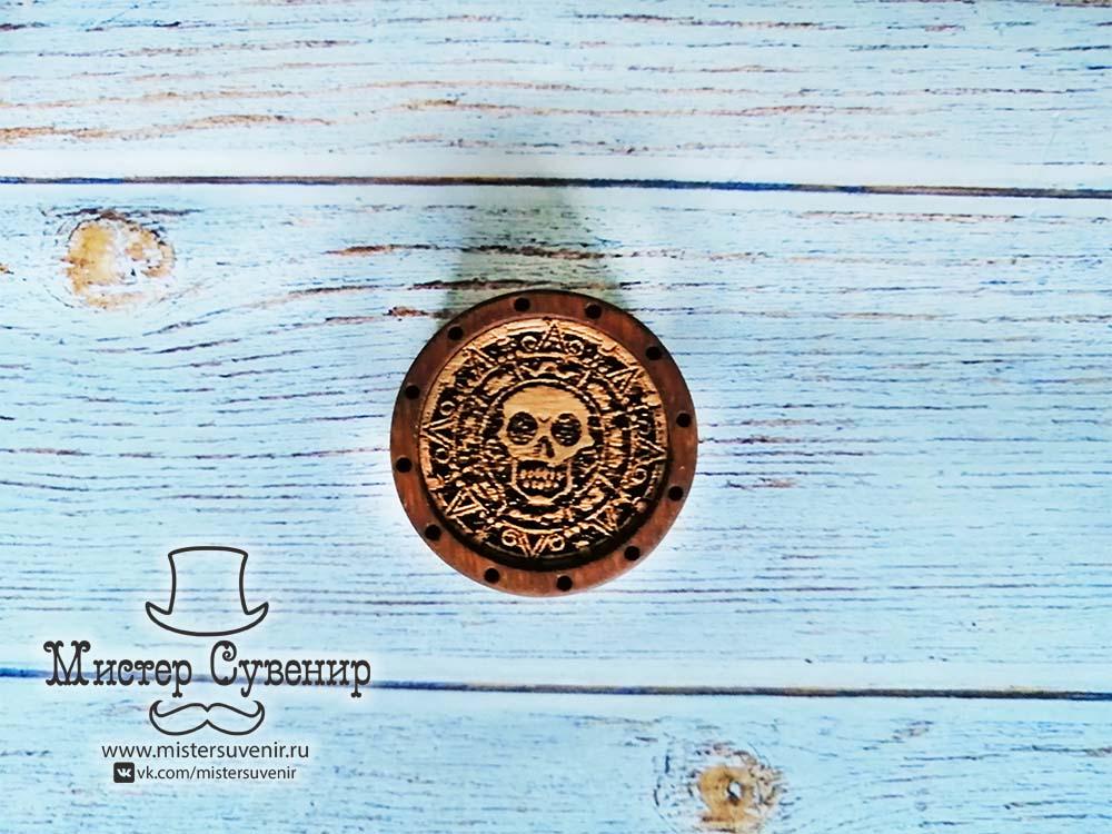 """Фишка для нард """"пиратская монета"""" темная"""