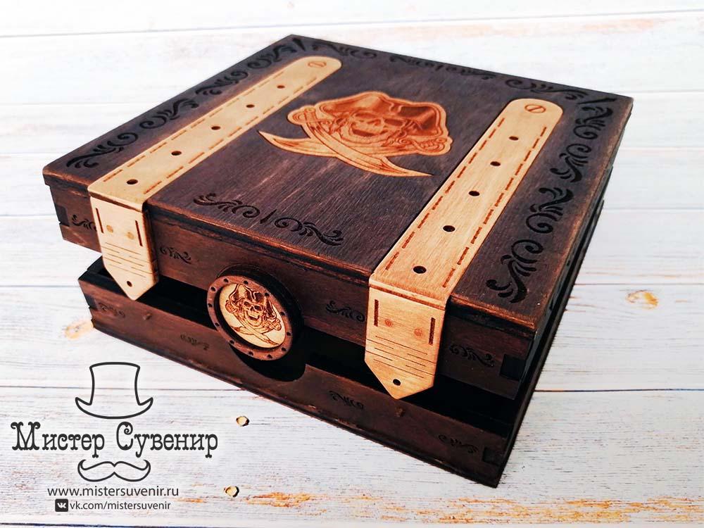 Пиратская шкатулка 15х15 см