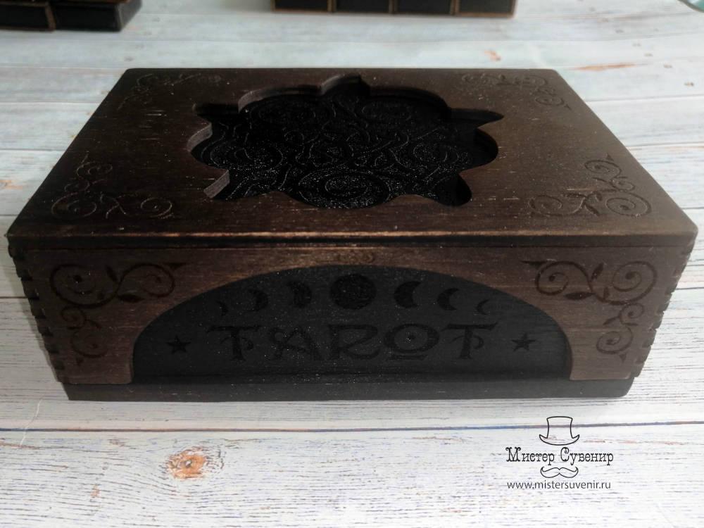 гравировка и покрытие шкатулки для карт таро ручной работы