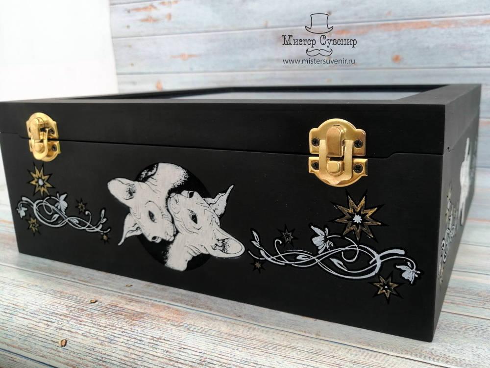 Ручная раскраска короба для таро со стеклом