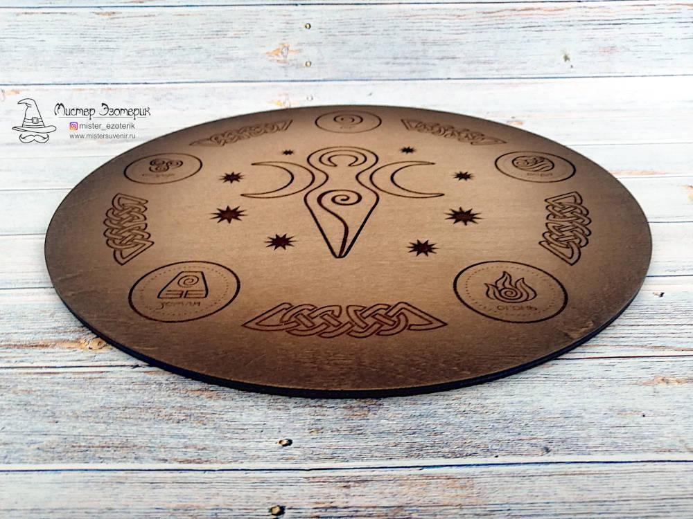 Деревянный алтарь ручной работы триединая богиня