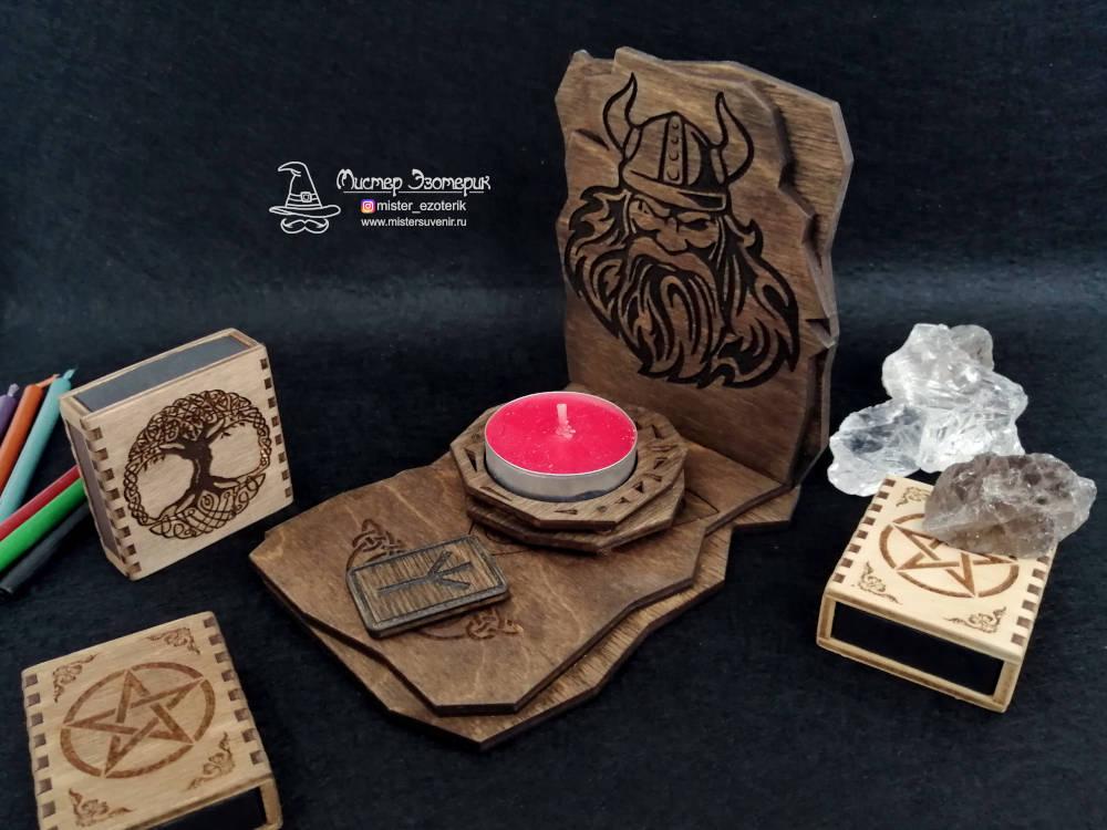 Алтарь Одина под одну свечу и руну